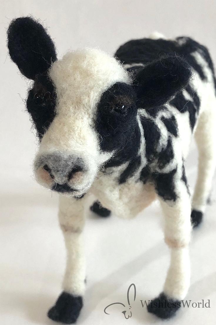 needlefelted cow